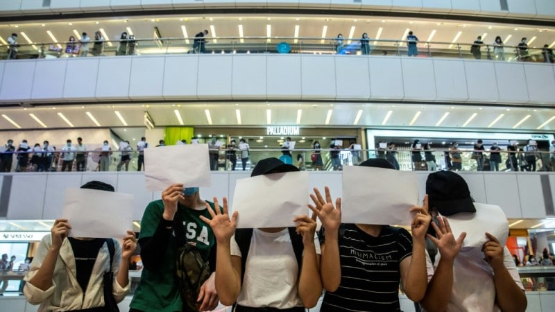 A Demonstration in a Shopping Mall in Hong Kong.afp