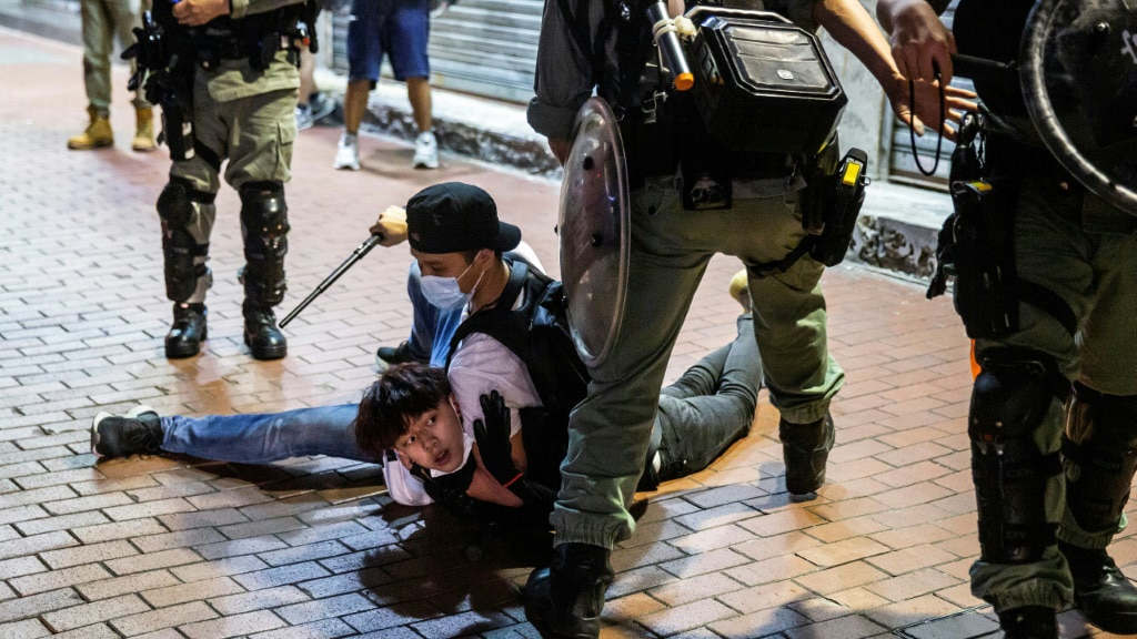 A Pro-democracy Demonstrator Arrested by an Undercover Hong Kong Police.afp