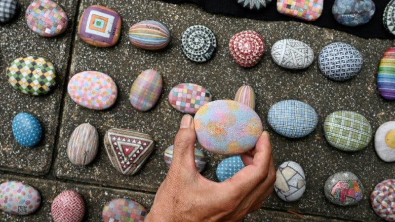 An Intricately Painted Pebbles on the Streets of Taiwan.afp