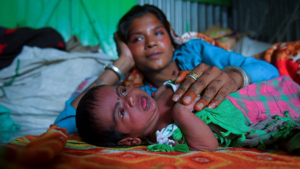 Baby Boy Lockdown in North India.afp
