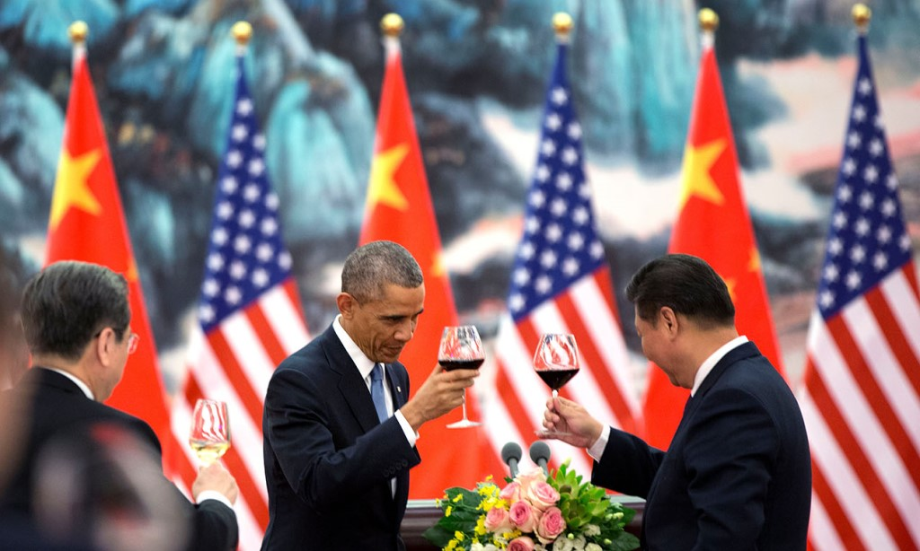 Barack Obama offers a toast to President Xi Jinping of China during a State Banquet at the Great Hall of People in Beijing - Obama White House