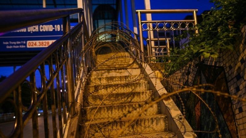 Barricaded Footbridge in Hanoi