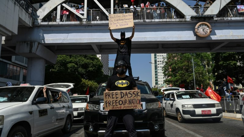 Batman Appeared on Anti-Coup Rally
