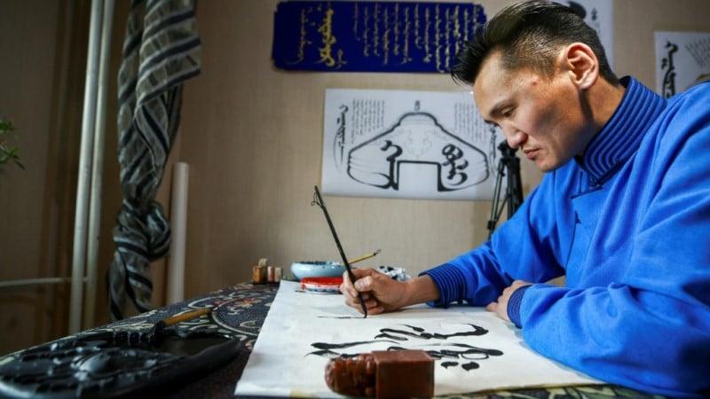Calligrapher Ganzorig Gulguu