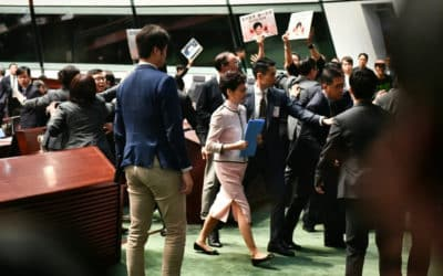 Hong Kong Chief Abandons Policy Speech after Being Shouted Down