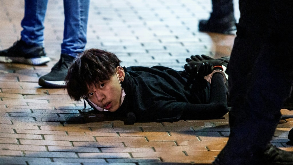 Clashes Spilled into the Streets of Mong Kok in Hong Kong.afp