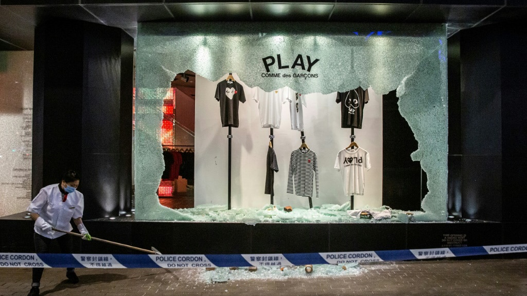Clothing Store Smashed During the Protest in Hong Kong.afp