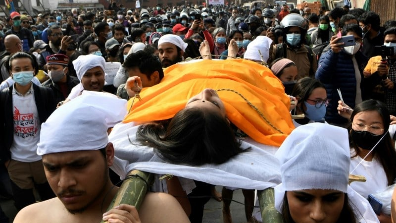 Demonstrators in Kathmandu