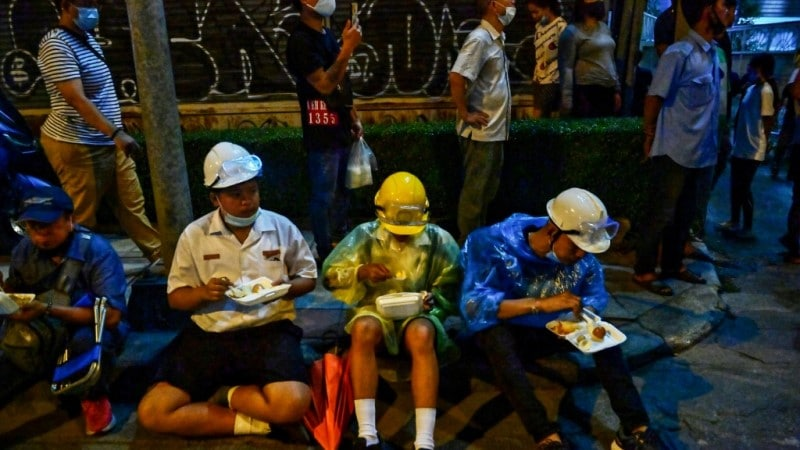 Eating Street-Food During Rally