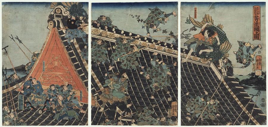 Edo Era -Rooftop Battle | Block Print Circa 1600-1800