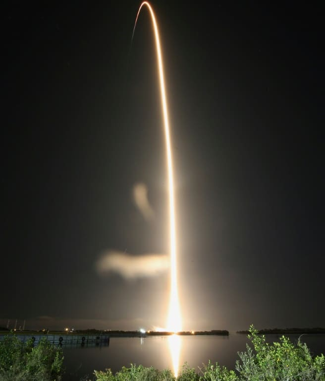 Falcon 9 Streaks Toward Space