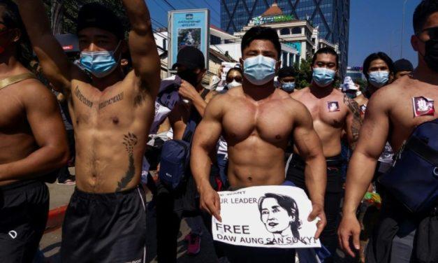 Myanmar's Shirtless Gym Junkies Join Anti-Coup Rally