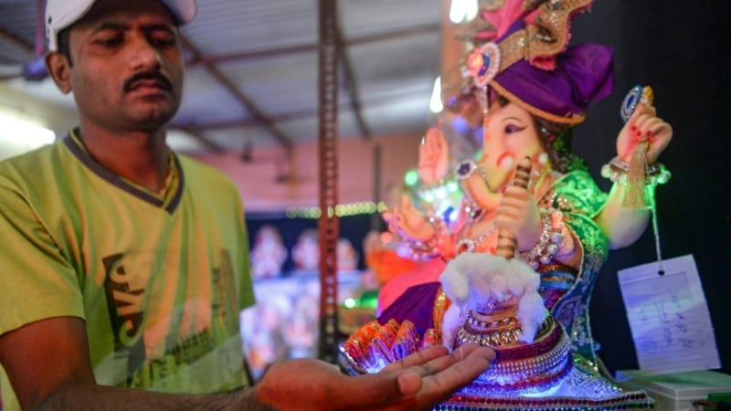 Ganesha Idol Dispenses Hand Sanitizer