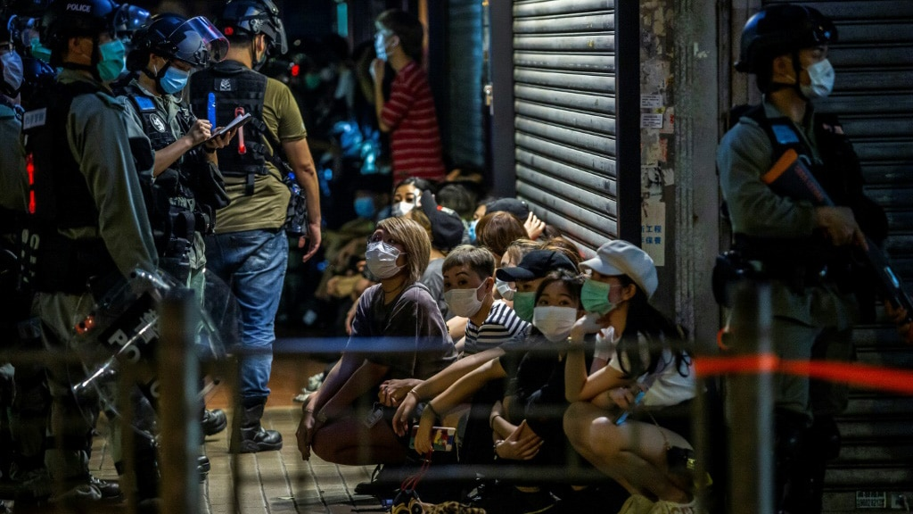Group of People Detained by Hong Kong Police.afp