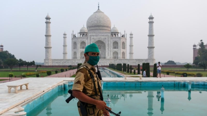 Guard Patrols at the Taj Mahal