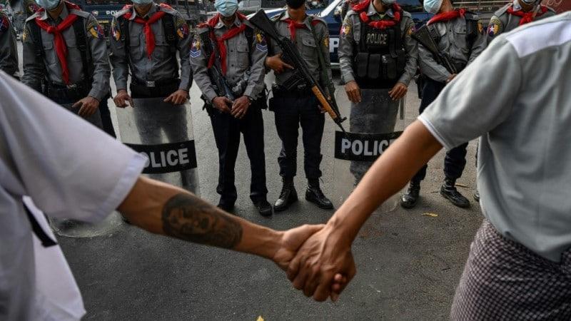 Holding Hands Myanmar Protest