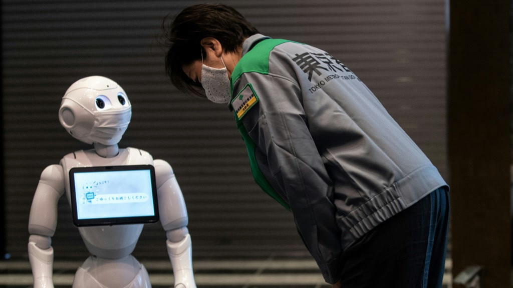 Humanoid Robot Pepper at a Tokyo Hotel.afp