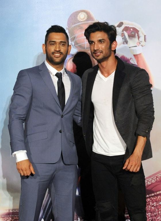 Indian Bollywood Actor Sushant Singh Rajput and Indian Cricket Captain Mahendra Singh Dhoni.afp
