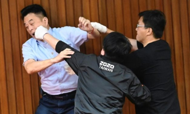 Punches, Water Balloons Thrown in Taiwan Parliament Melee