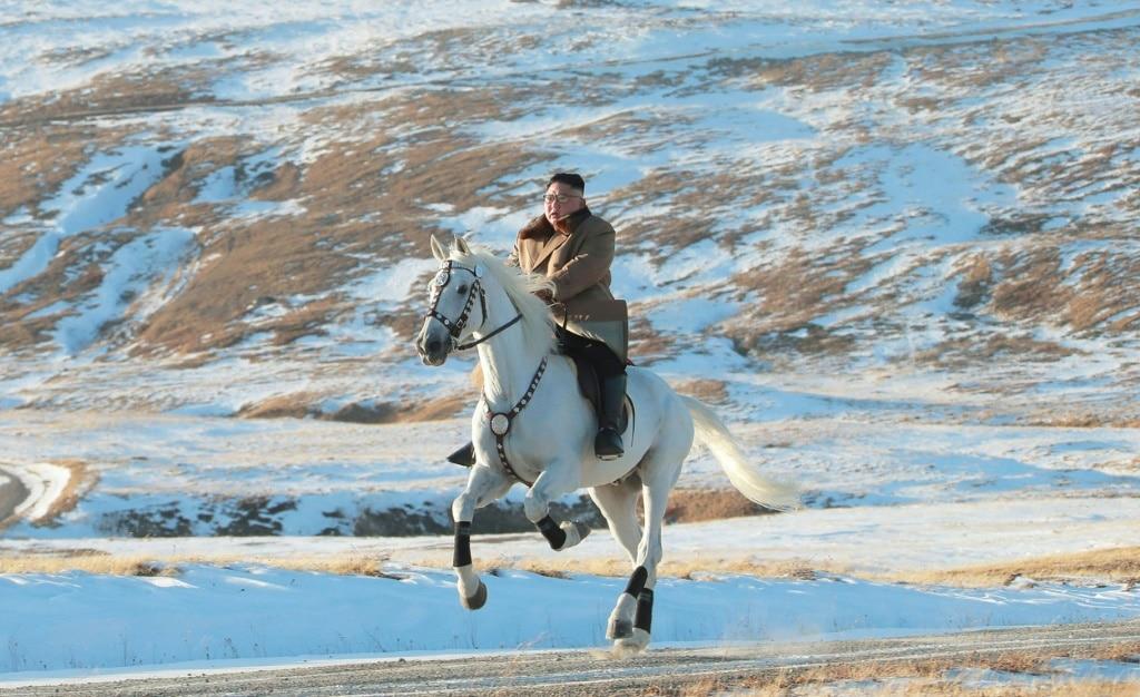 Kim Jong Un Riding White Horse in Winter Landscape
