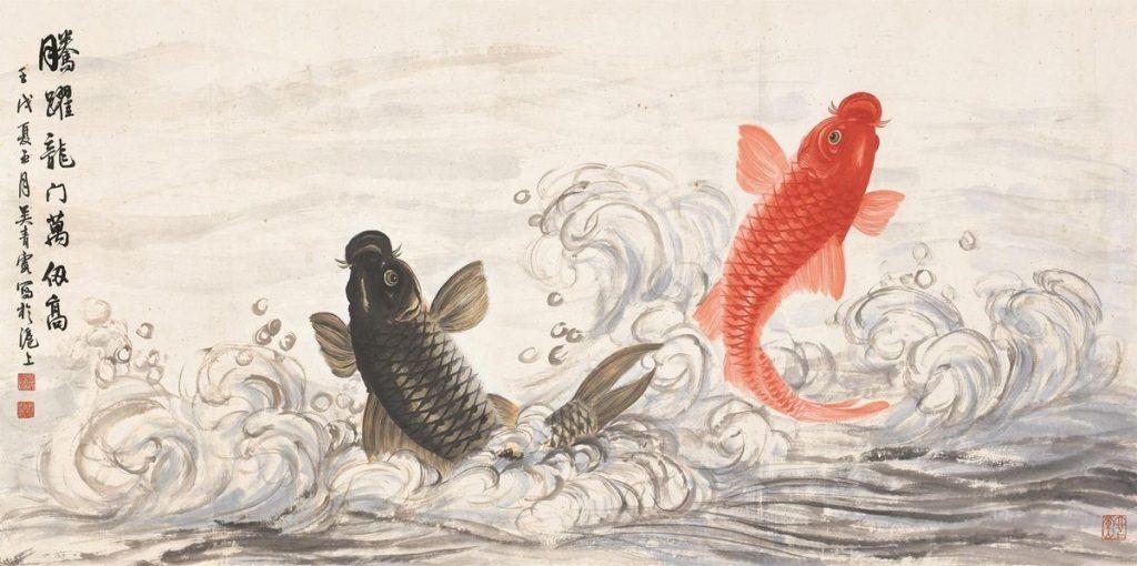 Koi Fish Painting - Artist Wu Qingxia - Circa 1910