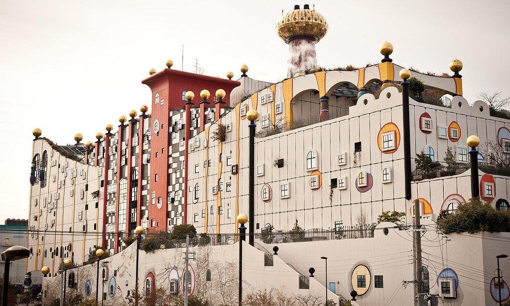 Maishima Incineration Plant redesigned by Viennese artist Friedensreich Hundertwasser - Mashima Island Project