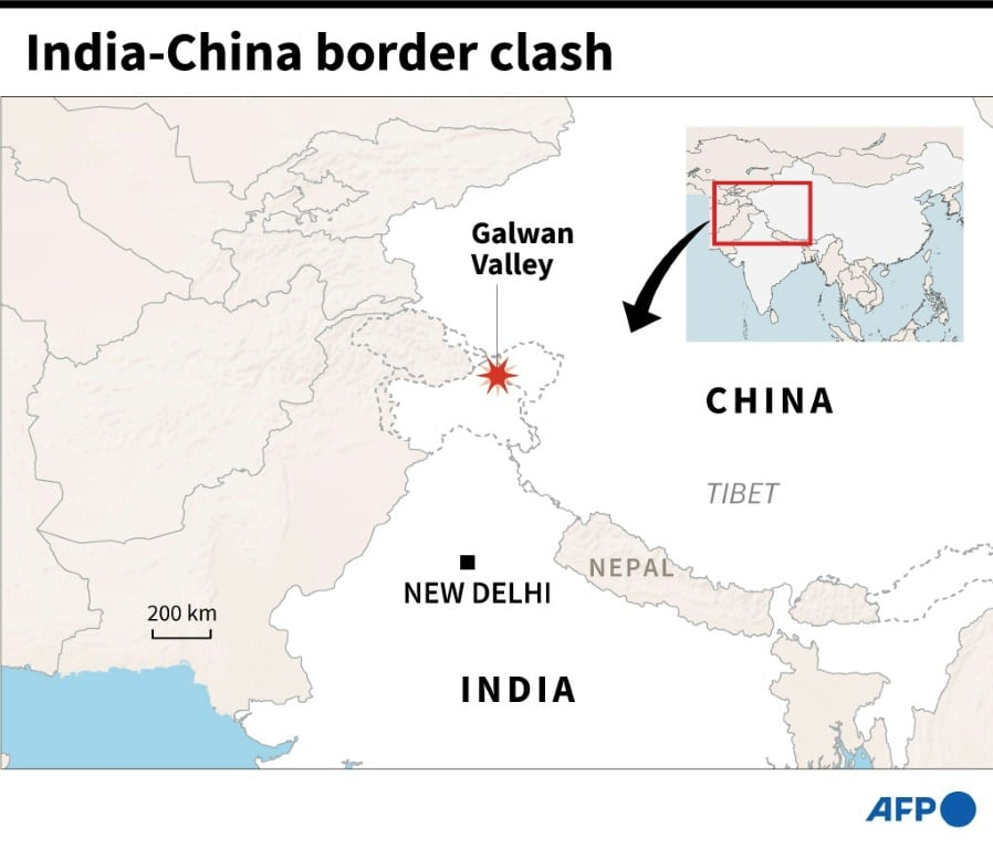 Map Showing India and China Border Where Deadly Clash has been Reported.afp