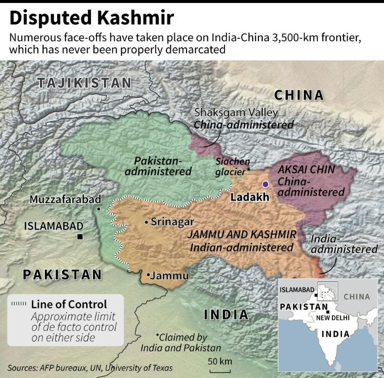 Map of Disputed Kashmir.afp