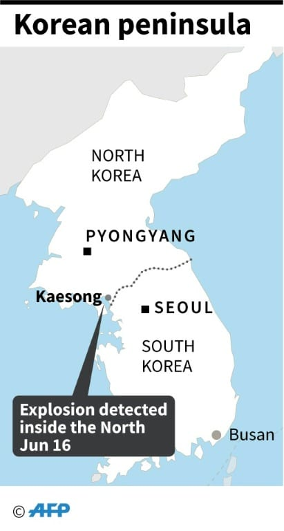 Map of North Korea Showing Kaesong Industrial Complex.afp