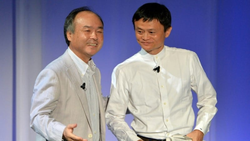 Masayoshi Son and Jack Ma.afp