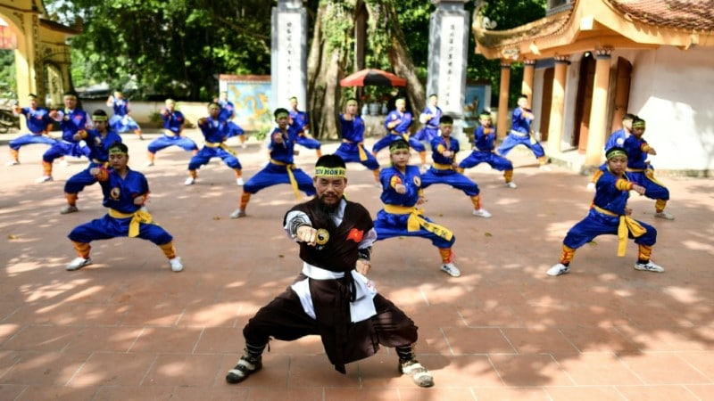 Master Nguyen Khac Phan Leads Students in a Training in Hanoi.afp