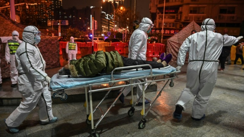 Medical staff Arrive at the Wuhan Red Cross Hospital