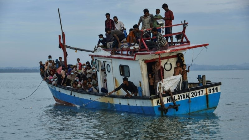 Nearly 100 Rohingya Stranded Off the Coast of Indonesia.afp