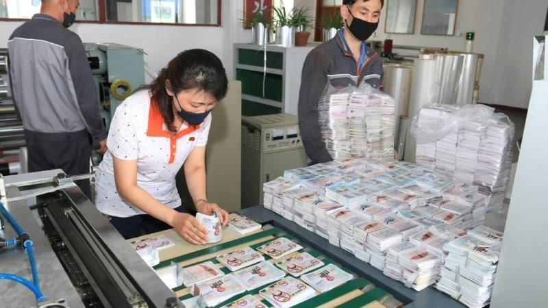 North Koreans Prepare Anti-Seoul Leaflets.afp