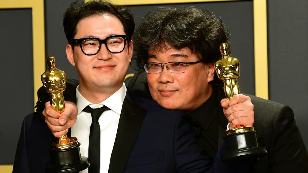Parasite Writers Han Jin-won and Bong Joon-ho South Korea.afp