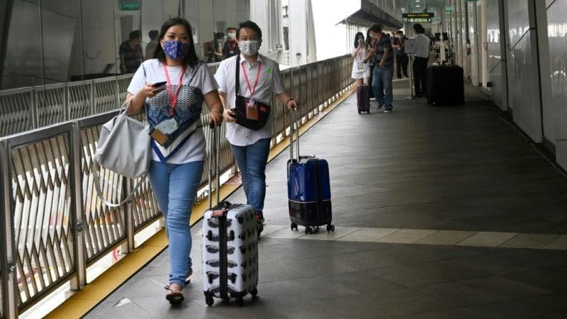 Passengers walking