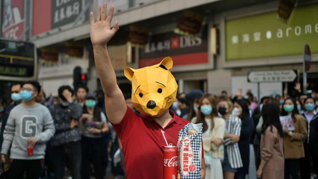 Pooh and Life Bread Hong Kong Protest ©AFP
