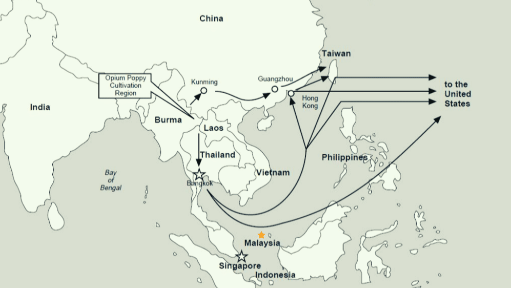 Primary Southeast Asia Heroin Traffic Route © DEA