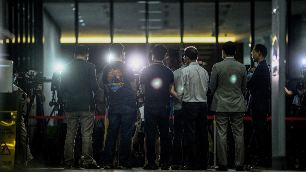 Pro-democracy Lawmakers Press Conference in Hong Kong on May 21, 2020.afp