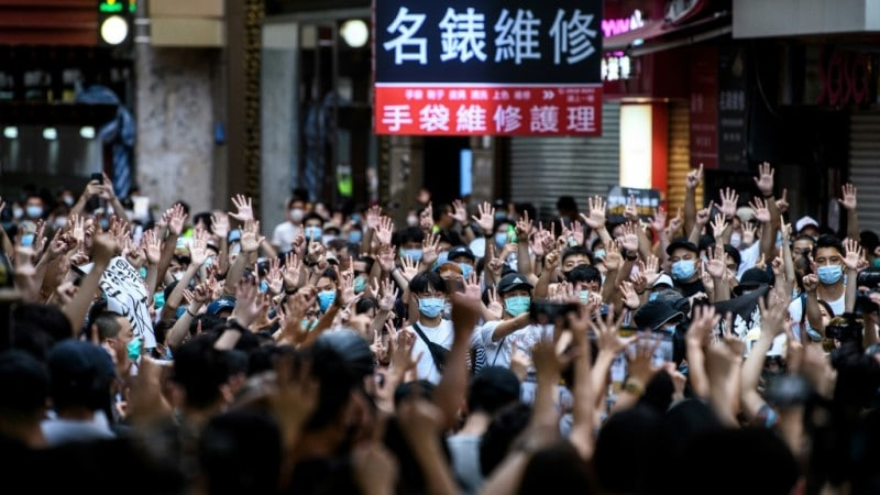 Protesters Rally Against a New National Security Law in Hong Kong.afp