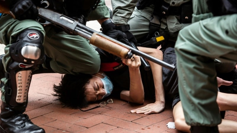 Protesters and Police Clash During the Pro-democracy Unrest in Hong Kong.afp