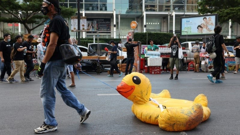 Protestor Walks with an Inflatable Duck