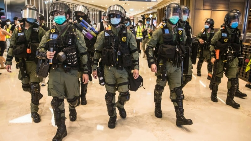 Riot Police in Hong Kong Mall