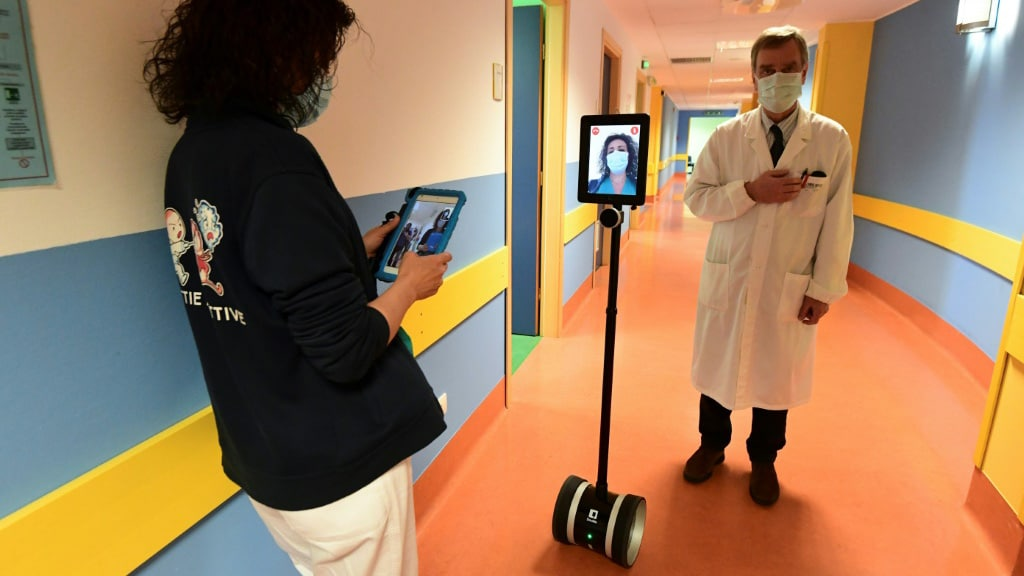 Robot in a Hospital in Italy.afp