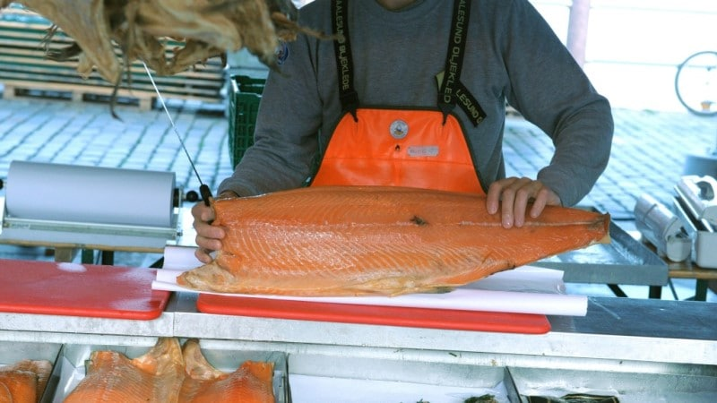 Salmon at the Fish Market Near Norwegian Harbor.afp