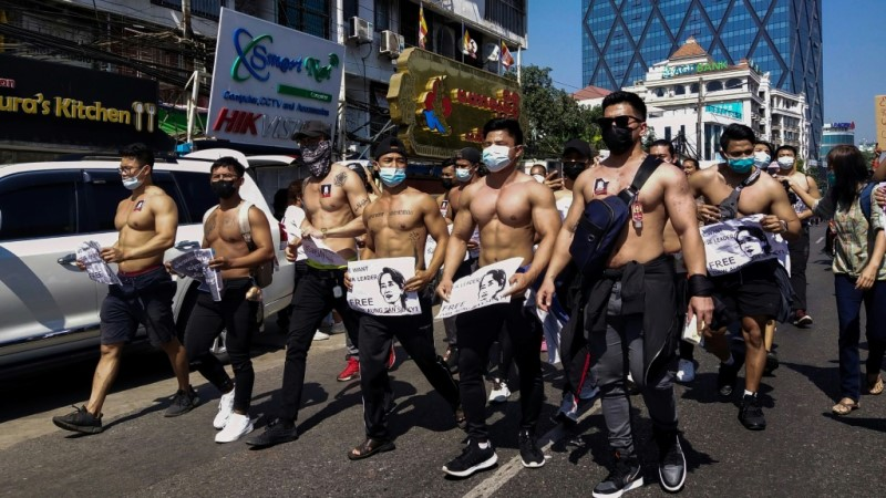 Shirtless Men on Streets of Yangon