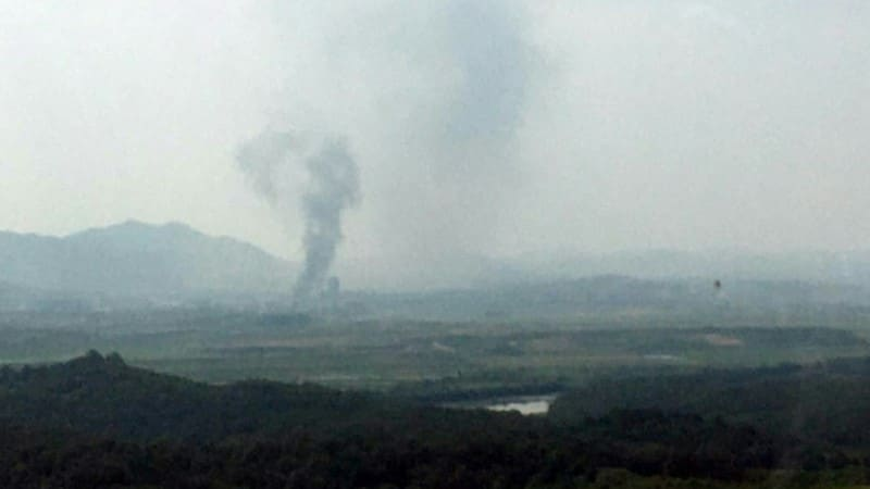Smoke Rise from Korean Liaison Office Blown up By Pyongyang.afp