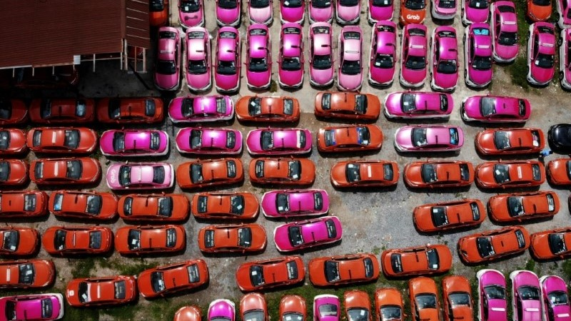 Taxis Sitting Idle in Storage