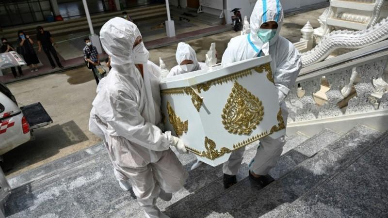Thai Monks Carry a Coffin to the Crematorium
