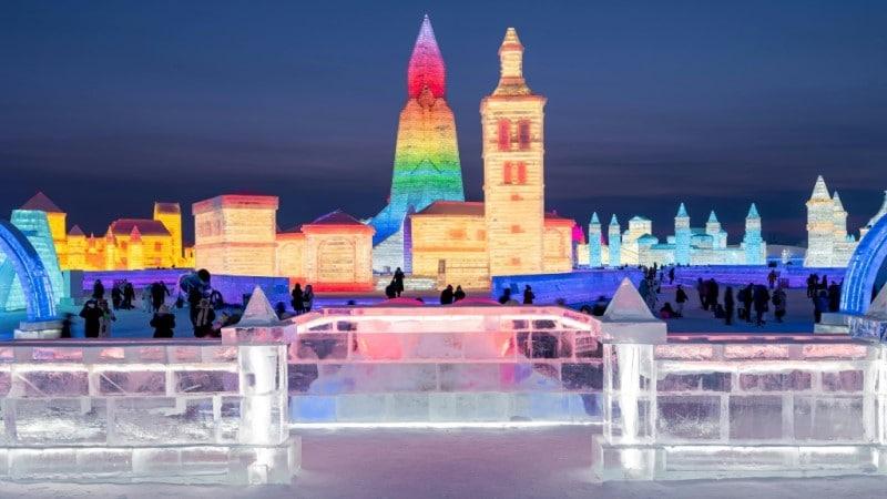 Visitors on Harbin Ice Festival